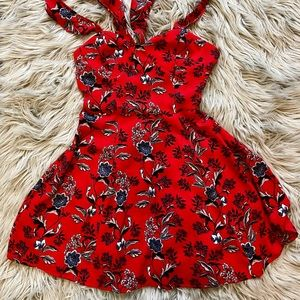 Red floral print summer dress